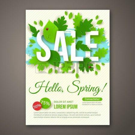 Spring Sale Flyer Design With Green Leaves. Vector Illustration ...