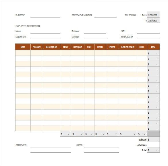 15+ Expense Report Templates – Template Section