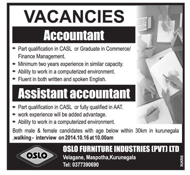 Assistant Accountant,new jobs 2014,latest jobs vacancies in sri ...