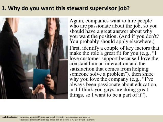 Top 10 steward supervisor interview questions and answers