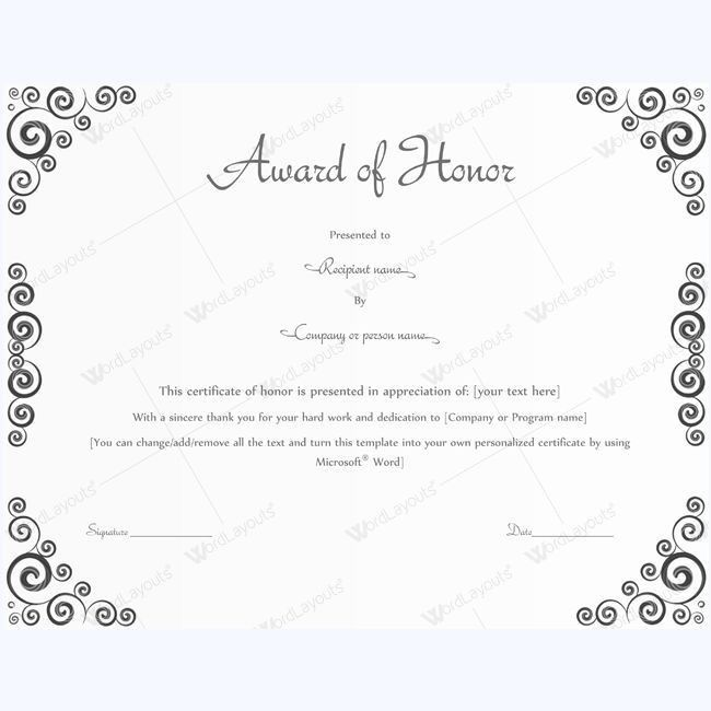 15 best award of honor certificate templates images on Pinterest ...