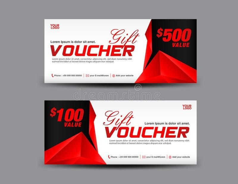 Gift Voucher Template, Coupon Design, Red Gift Certificate Stock ...