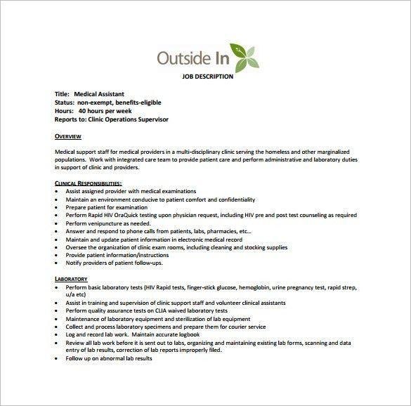 Medical Assistant Job Description Template – 10+ Free Word, Excel ...