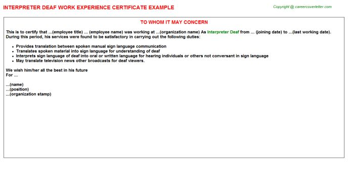 Amharic Interpreter Work Experience Letters