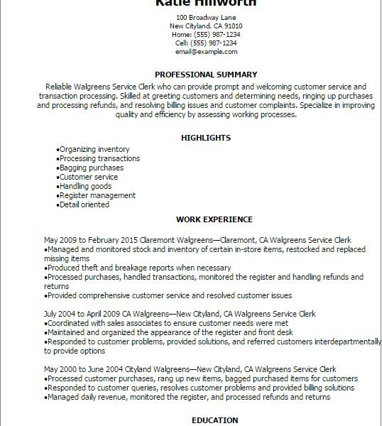 Excellent Warehouse Clerk Resume 8 Professional Walgreens Service ...