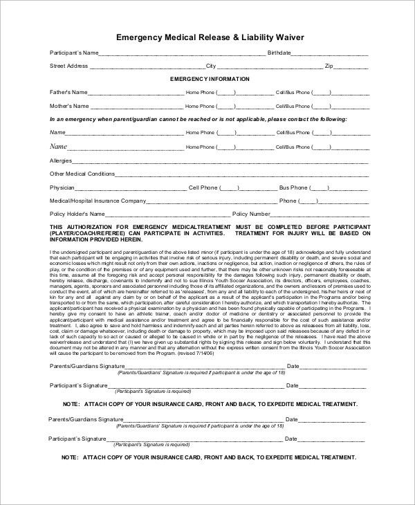 Sample Medical Waiver Form. Free Medical Release Form For Minors .