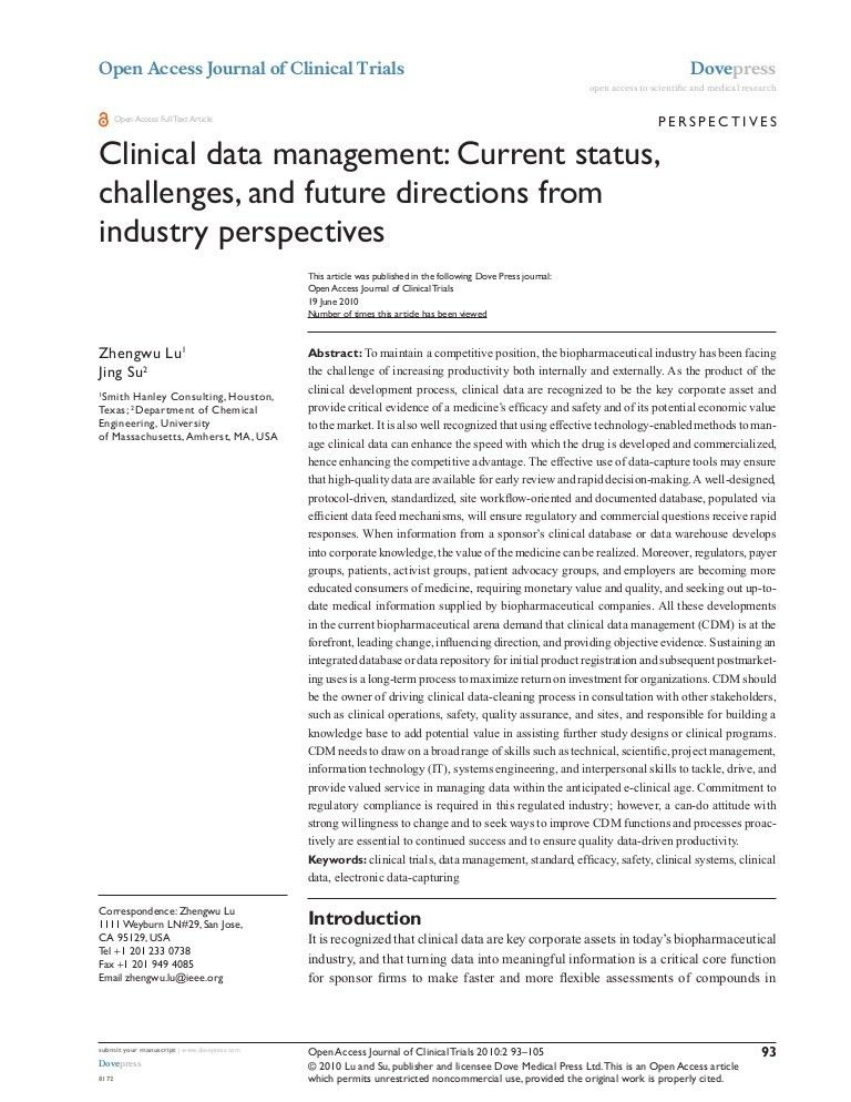 Clinical Data Management - Current Status, Challenges And Future