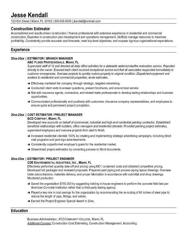 Free Construction Estimator Resume Example