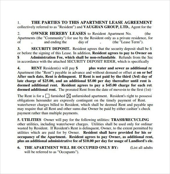 Apartment Lease Agreements - 7+ Free Samples, Examples & Formats