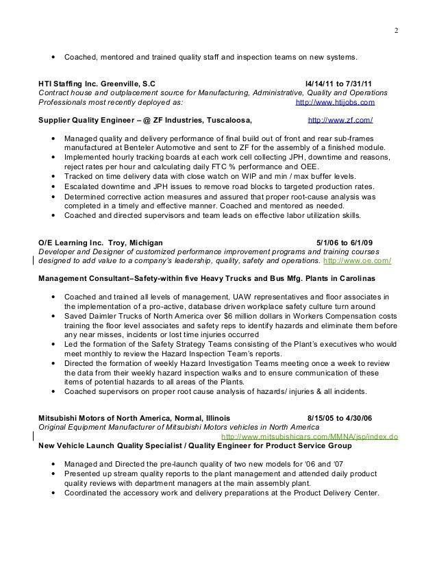 plant equipment manager resume