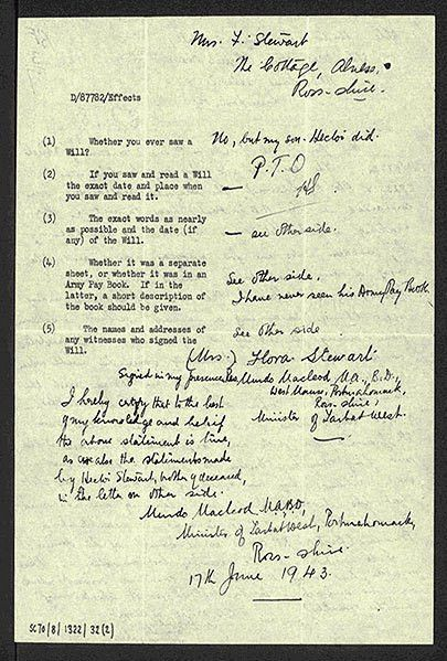 Examples of Soldiers' Wills | National Records of Scotland