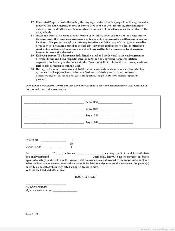 Printable Sample contract for deed Form | Free Legal Forms ...