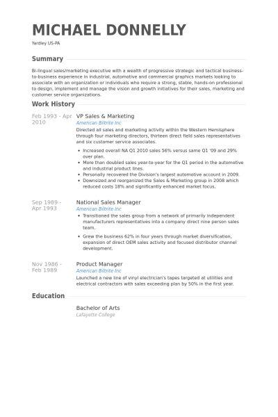 Vp Sales & Marketing Resume samples - VisualCV resume samples database