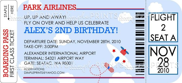 Airplane Ticket Printable Birthday Shower Invitation - Dimple ...