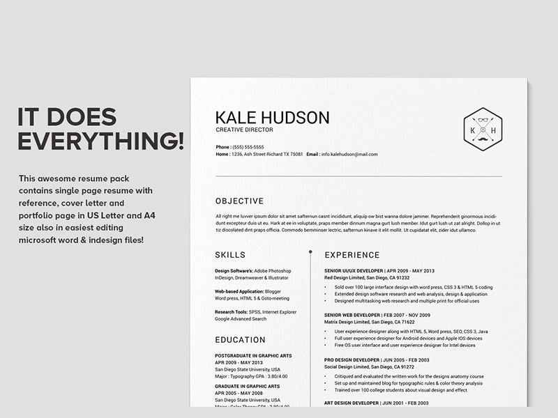 Clean Resume CV - Hudson | Resume styles, Cv resume template and ...