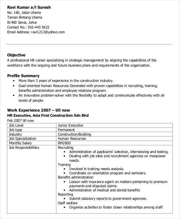59+ Executive Resume Templates | Free & Premium Templates