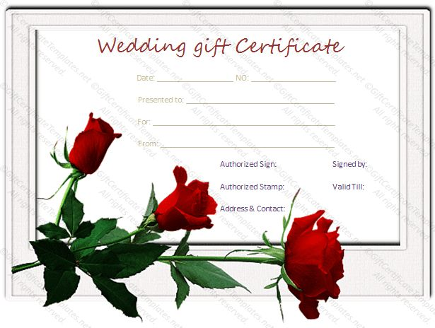 Red rose wedding gift certificate template