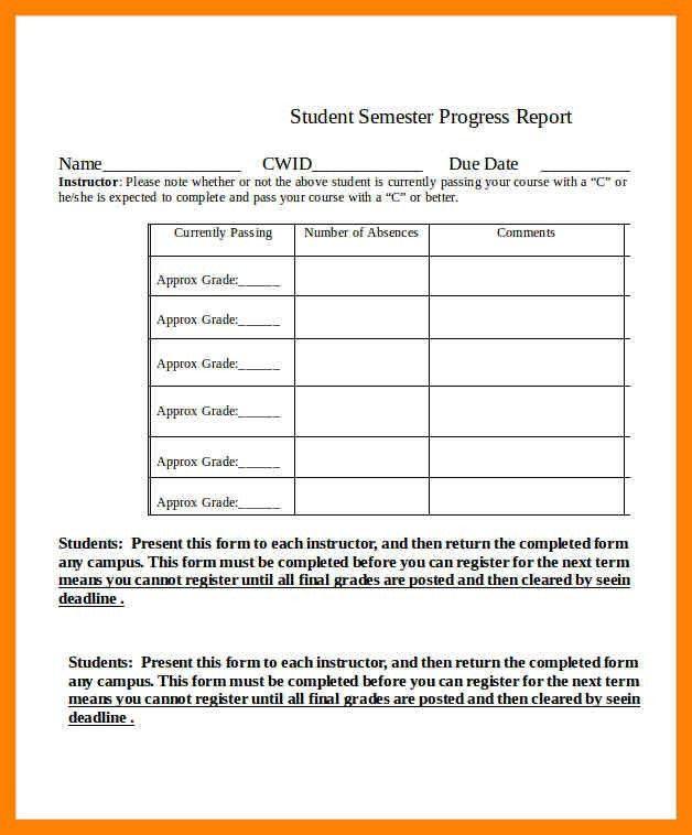 11+ student progress report sample | cv for teaching