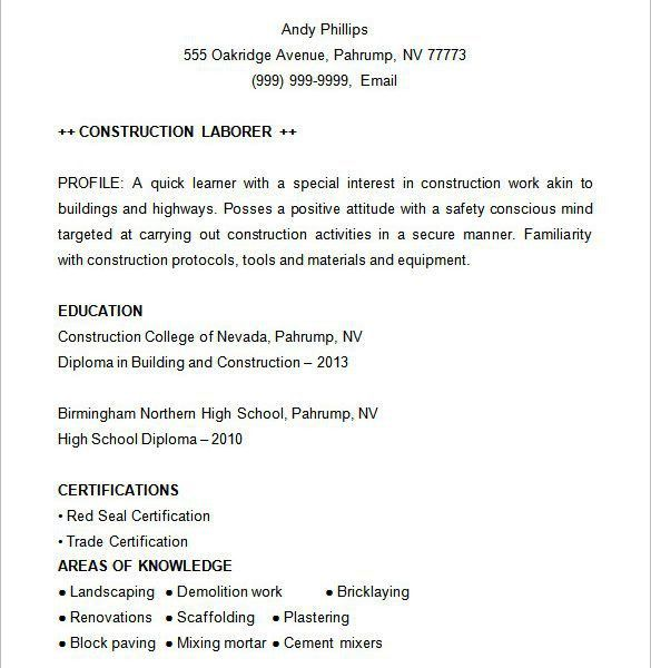 Prissy Inspiration Construction Resume 13 Construction Resume ...