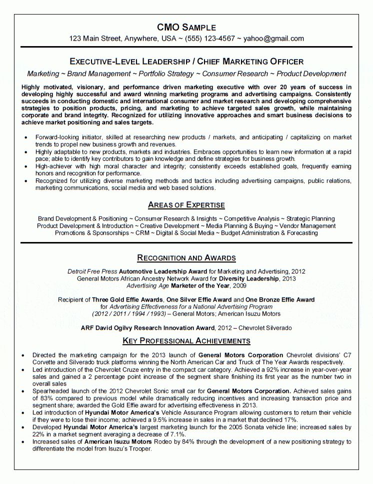 Chief Marketing Officer (CMO) Resume