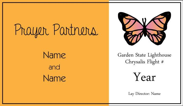 Garden State Lighthouse Chrysalis Flight Prayer Partner Card ...