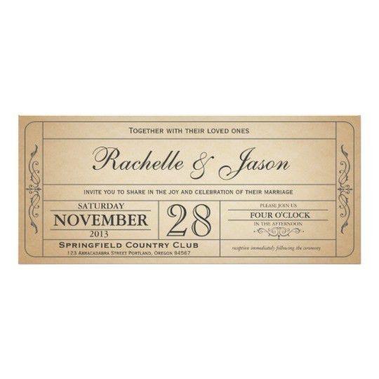 Vintage Wedding Ticket Invitation   Zazzle.com