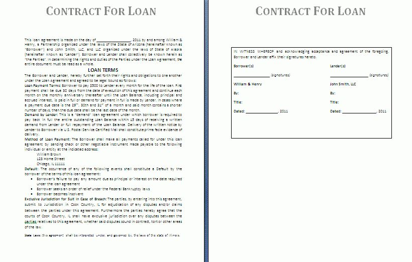 Loan Contract Template | Free Contract Templates