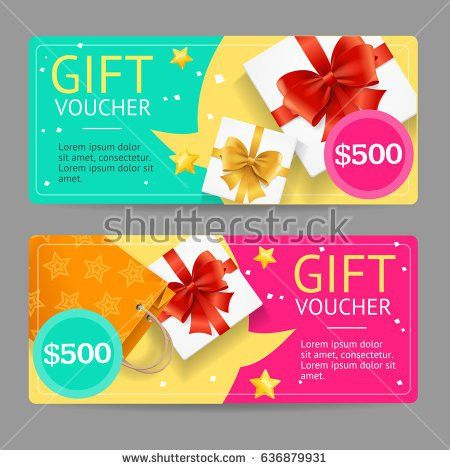 Gift Voucher Card Set Template Loudspeaker Stock Vector 636879925 ...
