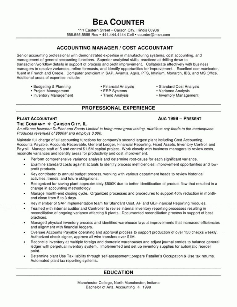 Sensational Resume Accounting 4 Accountant Resume - Resume Example