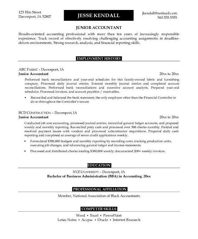 Awe-Inspiring Accounting Resume Objective 10 25 Best Ideas About ...