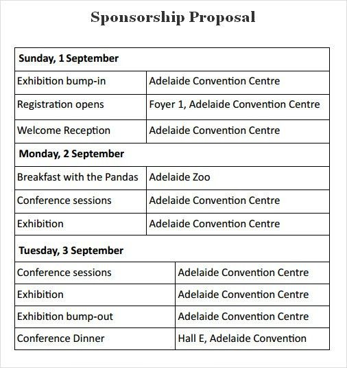 sponsorship proposal template