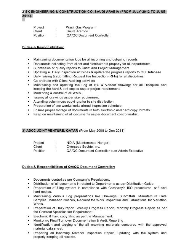 Sample Resume For Document Controller] For Document Controller ...