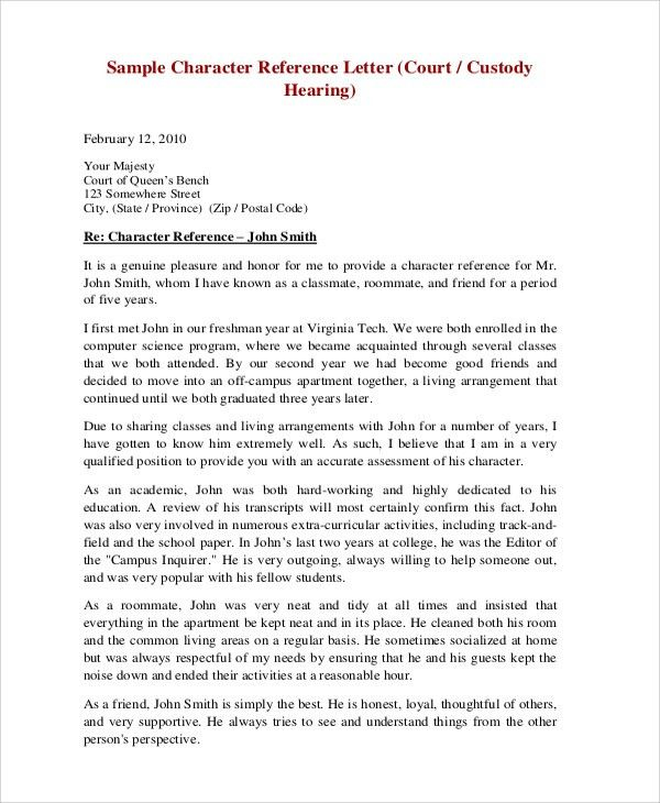sample character reference letter for court hearing | Professional ...