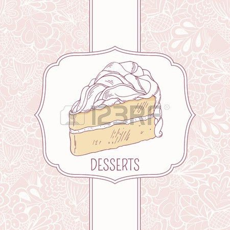 Dessert Menu Template With Sweet Cake And Doodle Pattern In Vector ...