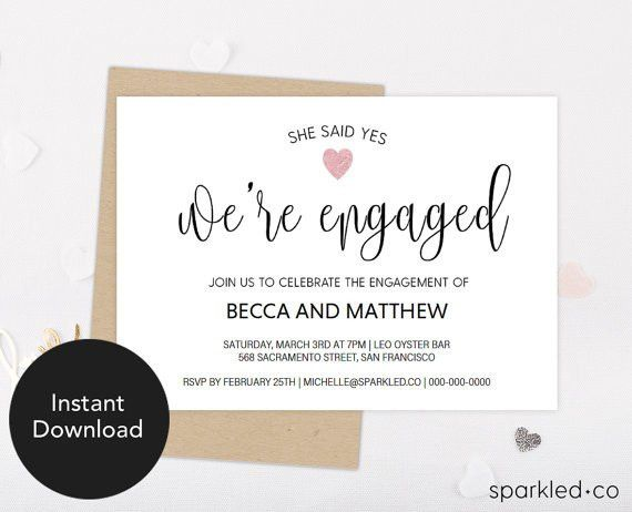 Engagement Invitation Template, Engagement Invitation, Engagement ...