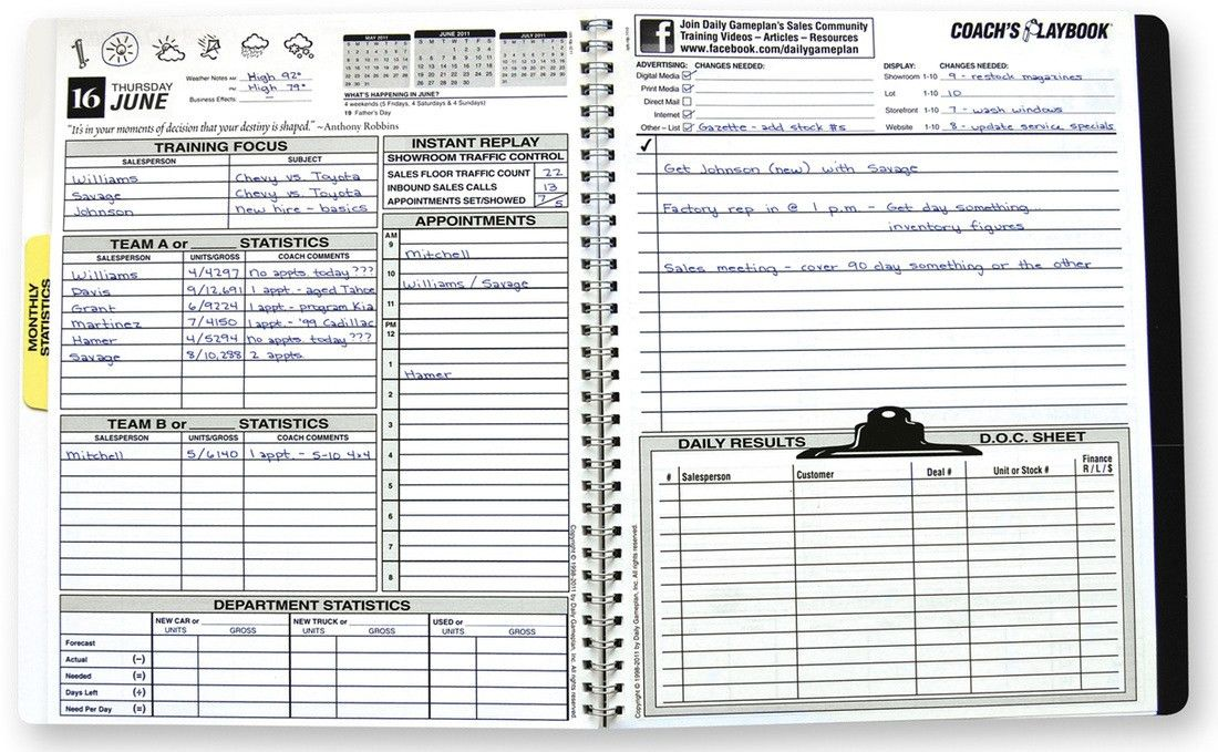 Coach's Playbook Sales Manager's Planner | Daily Gameplan - Daily ...