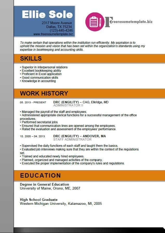 Administrator Resume Template ⋆ Free Resume Templates