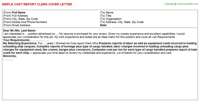 Cost Report Clerk Cover Letter