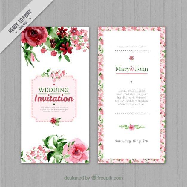 Watercolor floral wedding invitation Vector | Free Download