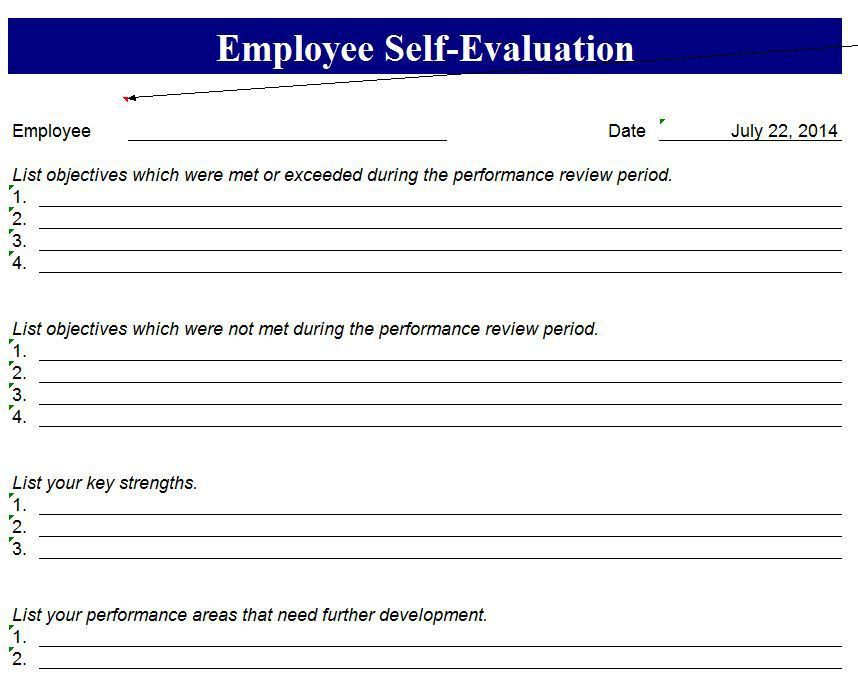 self assessment sample self assessment sample sample employee ...