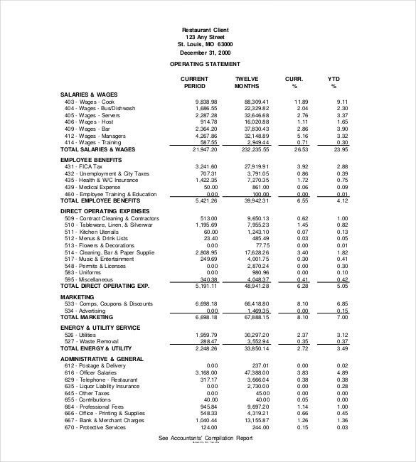 Income Statement Template – 15+ Free Word, Excel, PDF Format ...