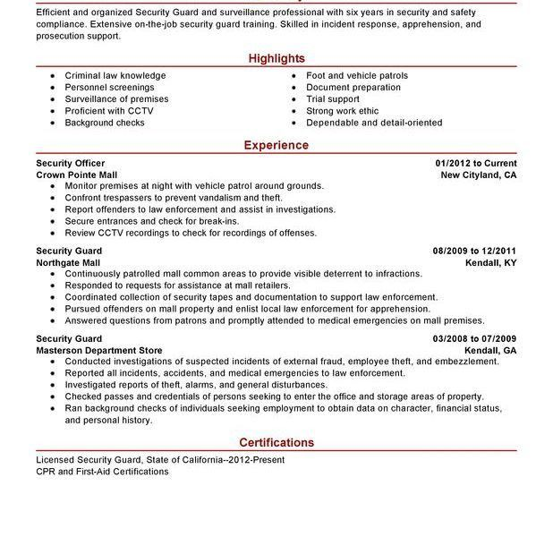 Spectacular Idea Security Guard Resume Sample 2 Unforgettable ...