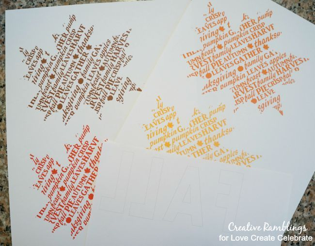 Printable Word Art Fall Banner - Love Create Celebrate