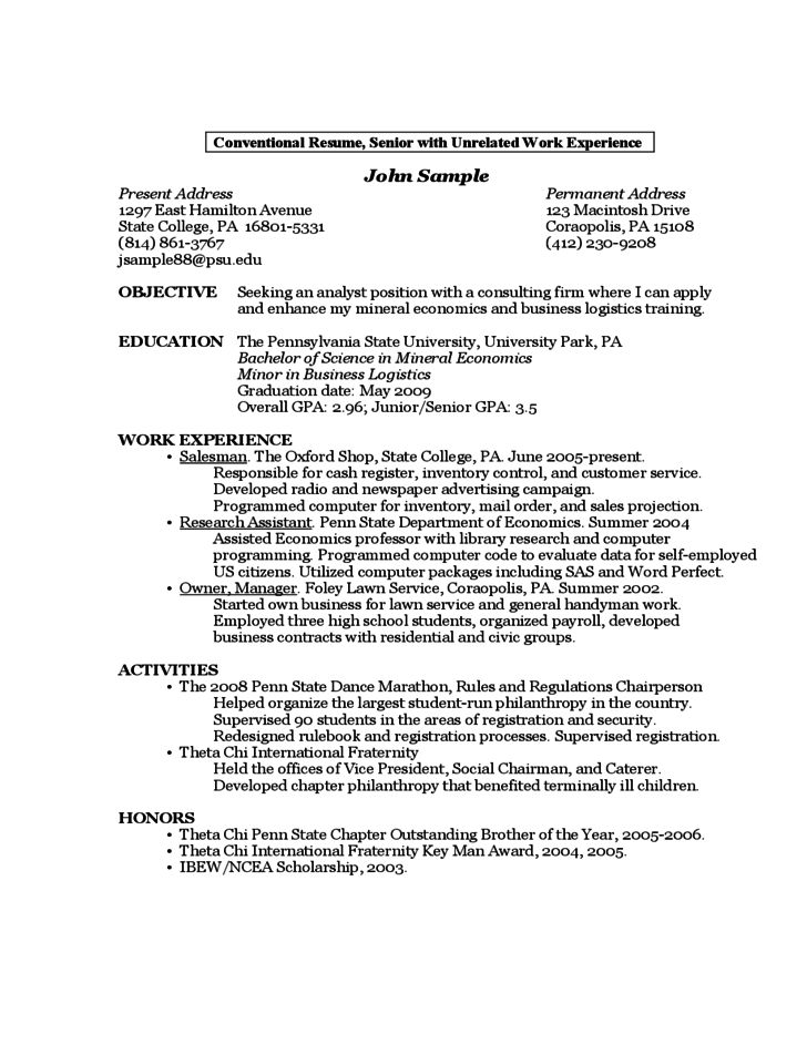 sample resume for first year college student cv and resume