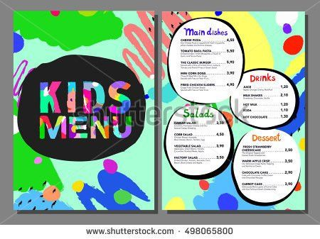 Cute Colorful Meal Kids Menu Template Stock Vector 416471185 ...