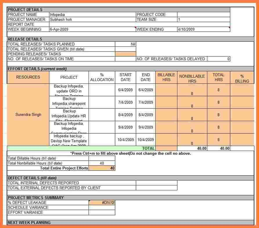 Project Status Report Excel [Template.billybullock.us ]
