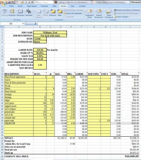 Labor Costs Estimating Sheet Download