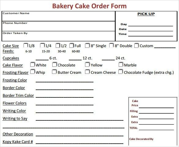 Cupcake Order Form. Wedding Cake Order Form Wedding Cake Order ...