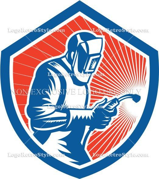 Welder Fabricator Welding Torch Side Shield Retro | logo retro style