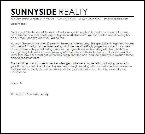 real estate cover letter examples. estate agent sample resume ...